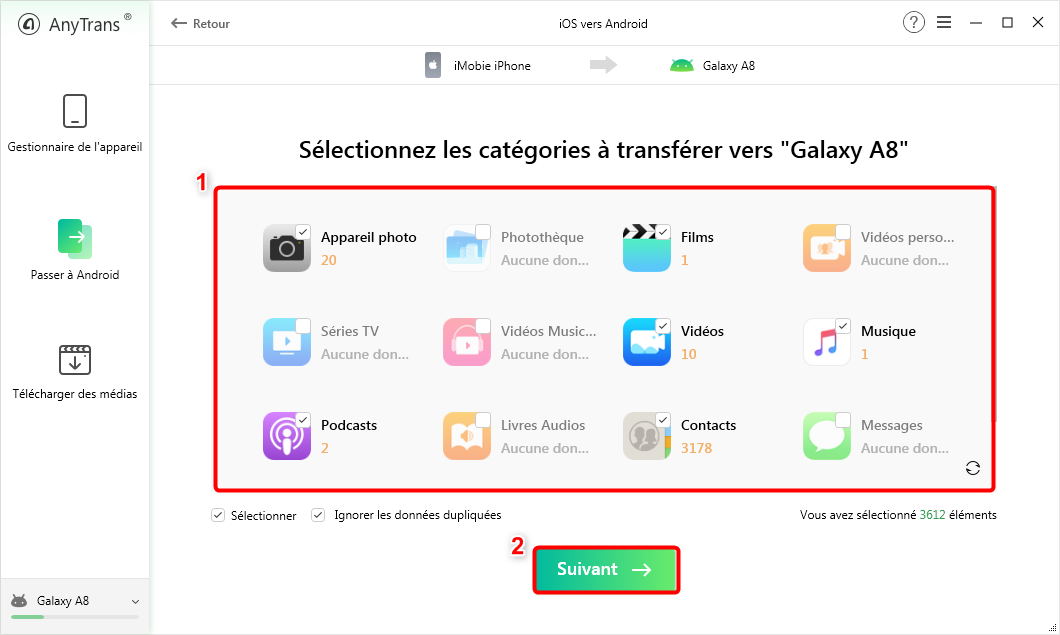 Sélectionnez les données que vous souhaitez transférer vers Android - 3