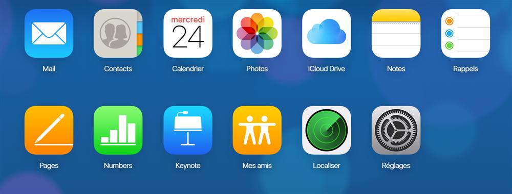 Page d'accueil iCloud.com
