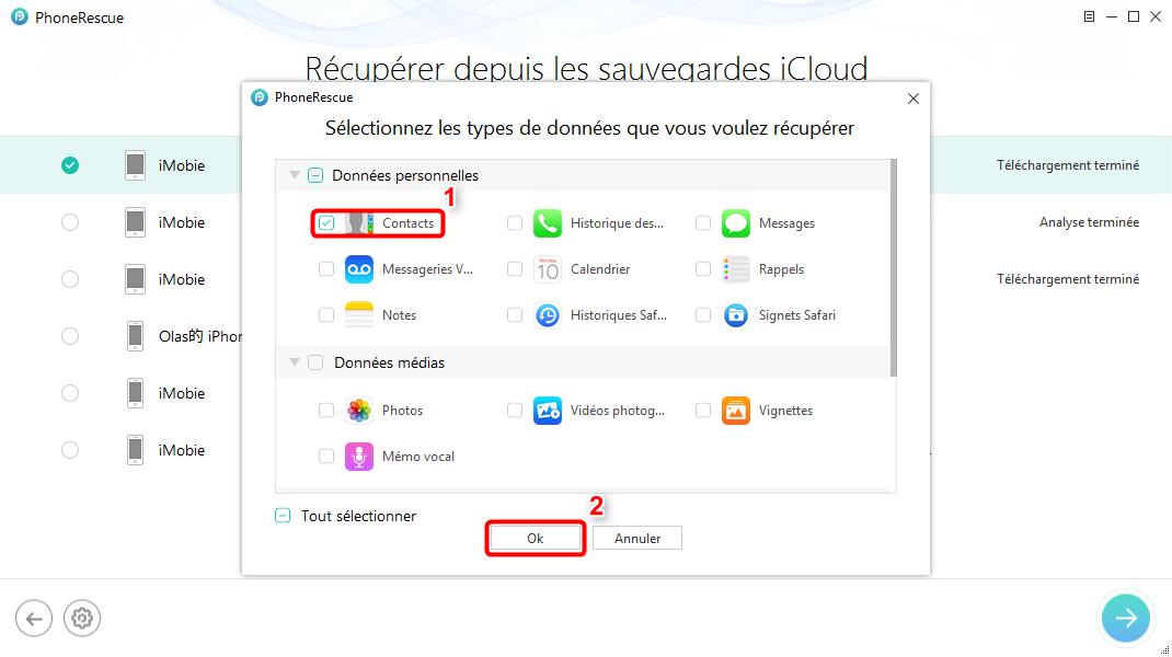 Comment récupérer les données iPhone X depuis iCloud – étape 2