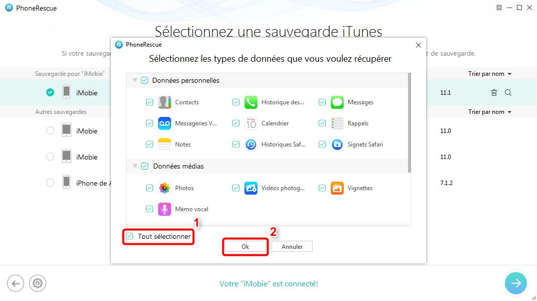 Comment récupérer les données iPhone X depuis iTunes – étape 2