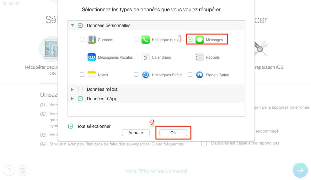 Comment récupérer les fichiers supprimés sur iPhone 8 – étape 2