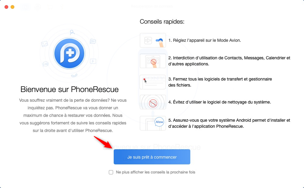 L'interface de PhoneRescue