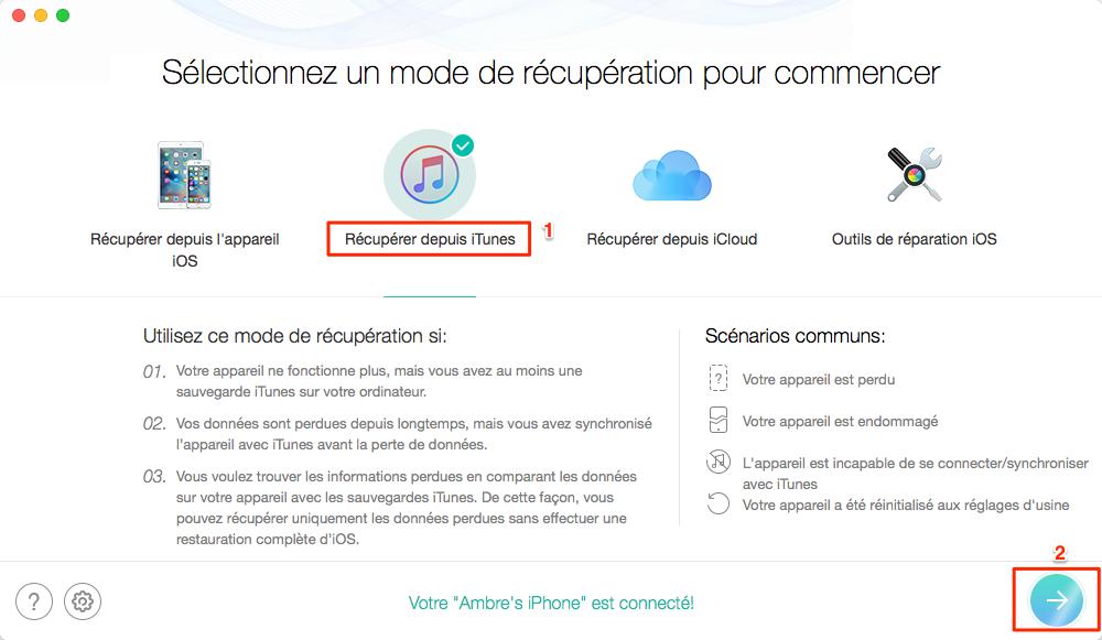 Restaurer iPhone depuis sauvegarde iTunes corrompue/incompatible - étape 1