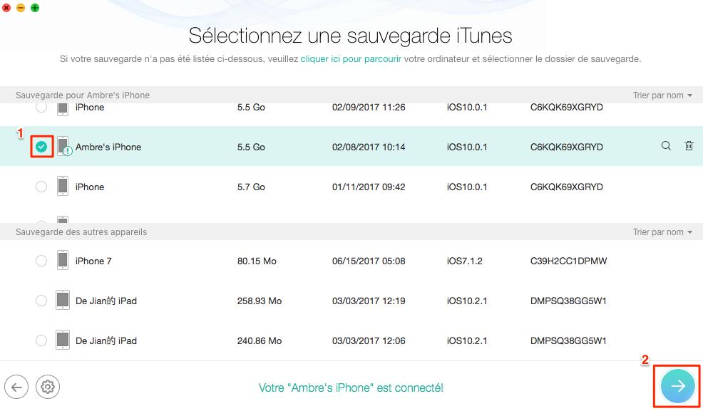Comment restaurer iPhone iPad sans iTunes/iCloud - étape 2
