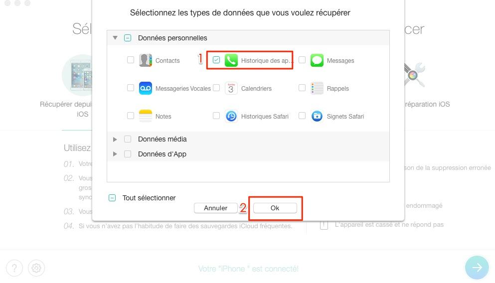 Retrouver l'historique des appels iPhone - étape 2