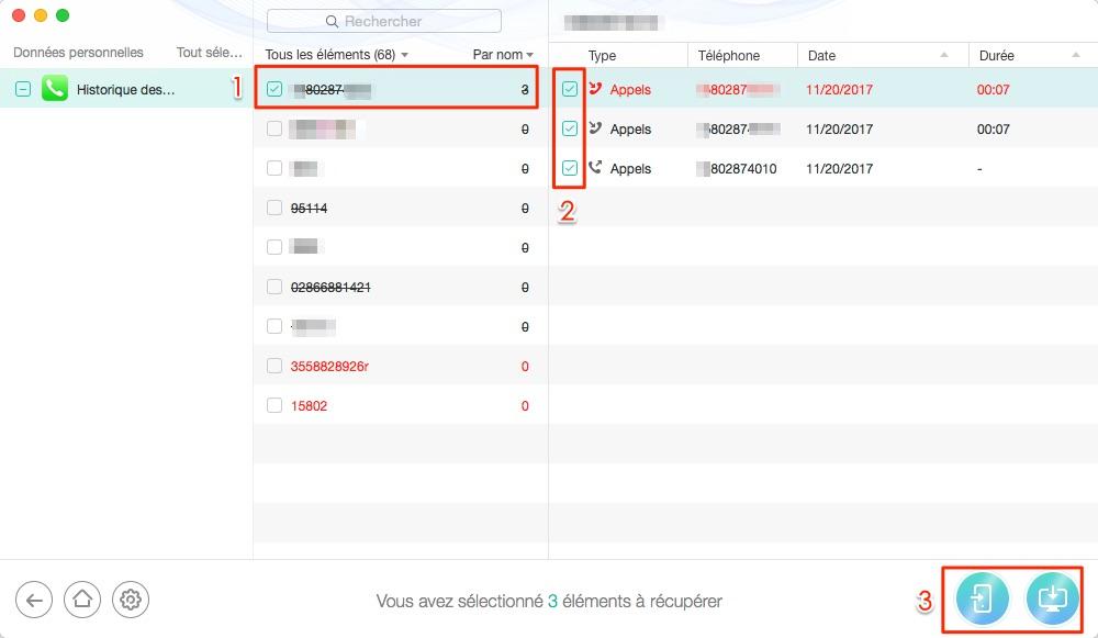 Moyen facile de récupérer historique des appels de téléphone iOS - étape 3