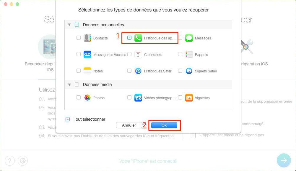 Comment récupérer l'historique des appels d'iPhone 7 – étape 3