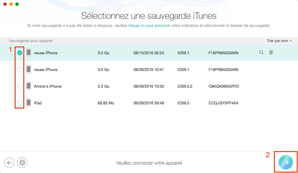 Retrouver l'historique Safari depuis sauvegarde iTunes – étape 3