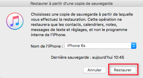 Récupérer les photos disparues iPhone sous iOS 13 depuis iTunes