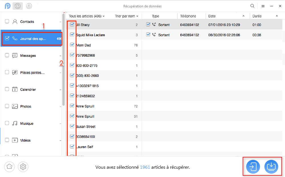 Moyen facile pour la récupération de journal d'appel sur Sony Xperia – étape 3