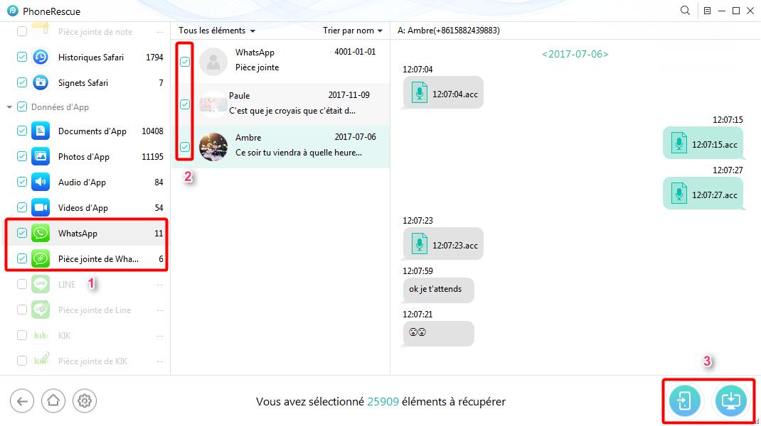 Récupération de conversations WhatsApp perdues sur iPhone X - étape 3