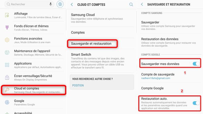 Récupérer les données Android via compte Google