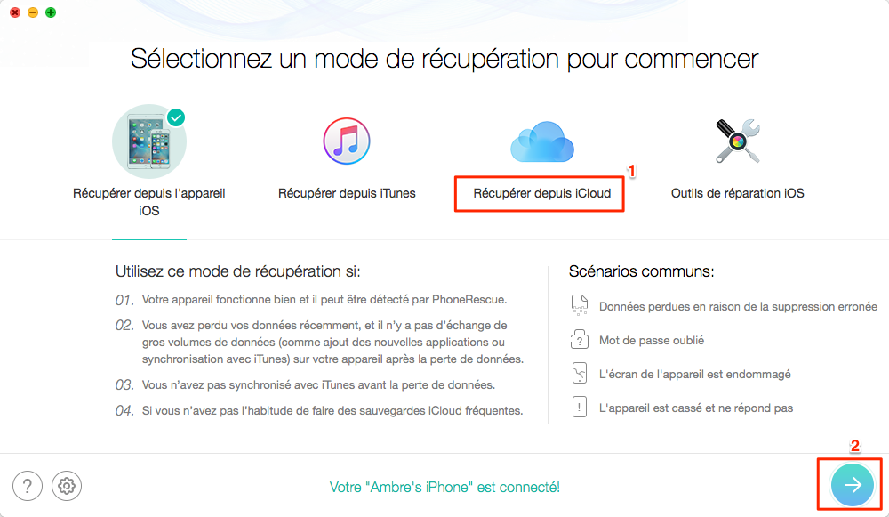 Récupérer les données perdues iPhone d'une sauvegarde iCloud