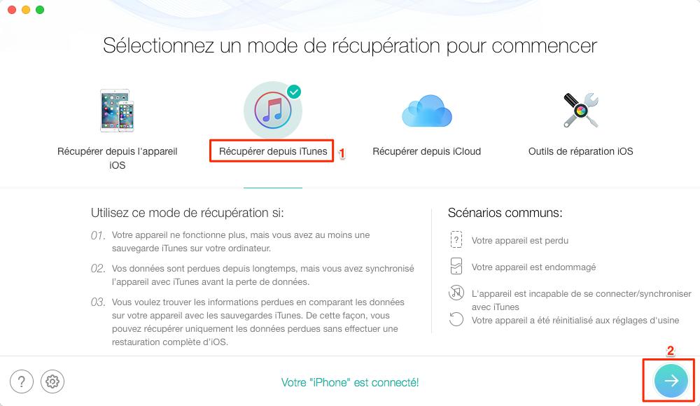 Récupérer sélectivement des données de sauvegarde iTunes