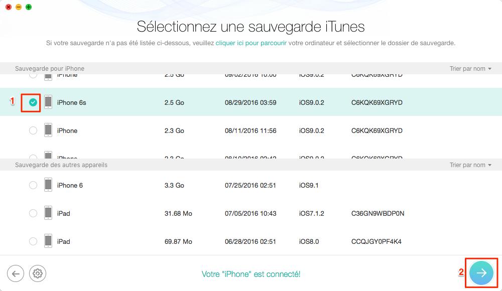 RécupérerSMS effacés iPhone d'une sauvegarde iTunes - étape 3