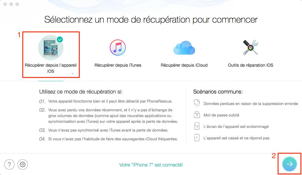 Comment récupérer directement les livres audio depuis iPhone 7 (plus) – étape 2