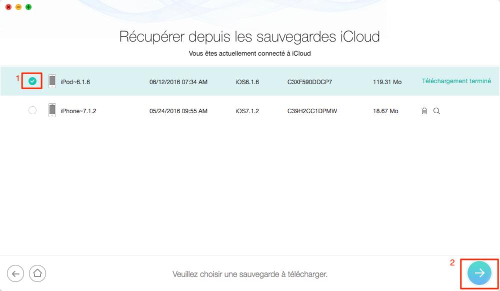 Télécharger la sauvegarde iCloud