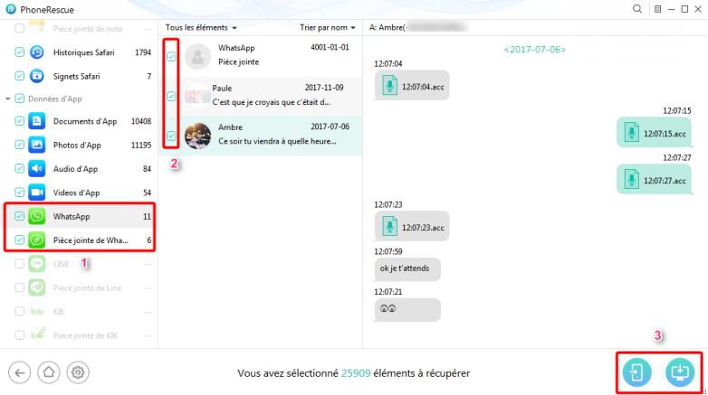Récupérer la conversation de messages de WhatsApp iPhone – étape 3