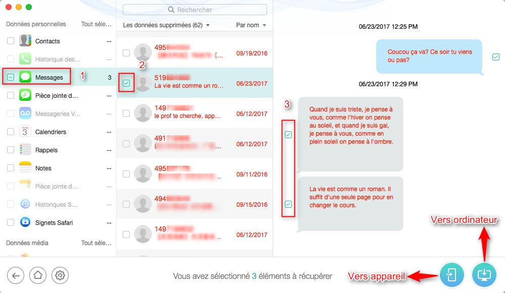 Récupérer vos messages depuis sauvegardes iCloud – étape 4