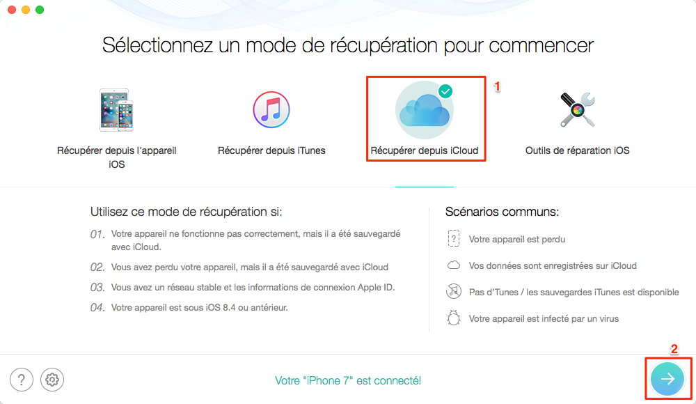 Comment restaurer messages WhatsApp iCloud - étape 1