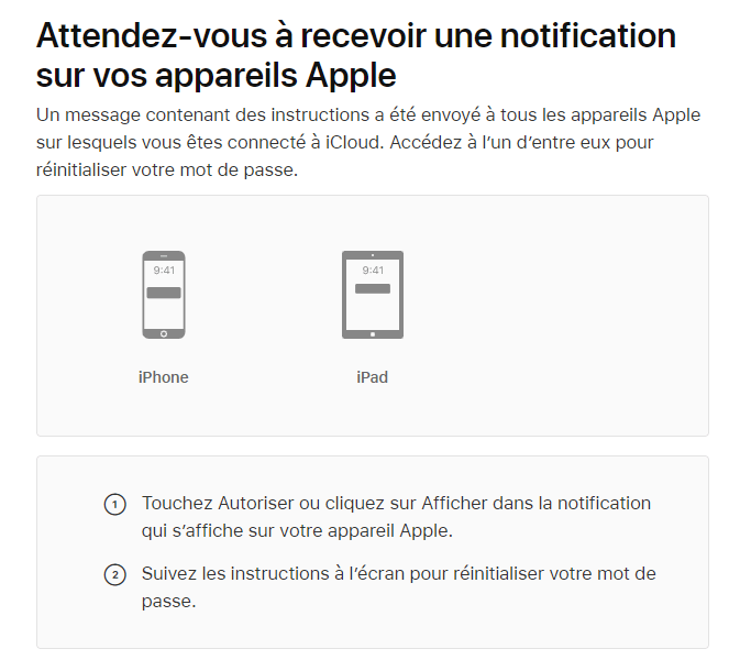 Une notification sur votre appareil Apple