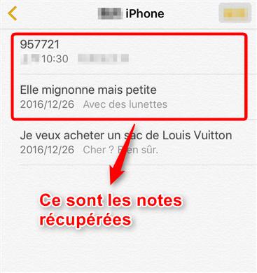 Récupération de notes supprimées iPhone X terminée