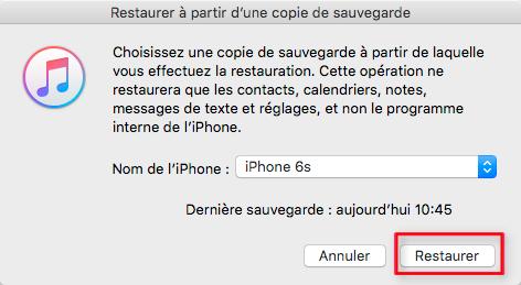 Récupérer les photos disparues iPhone sous iOS 11 depuis iTunes