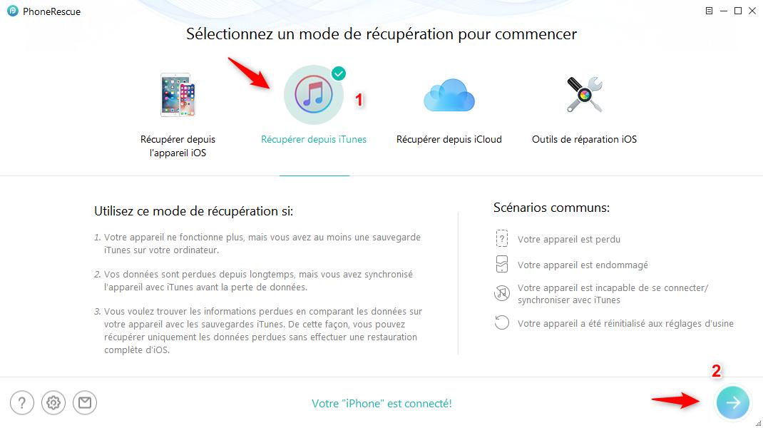 Sélectionner le mode Récupérer depuis iTunes – étape 2