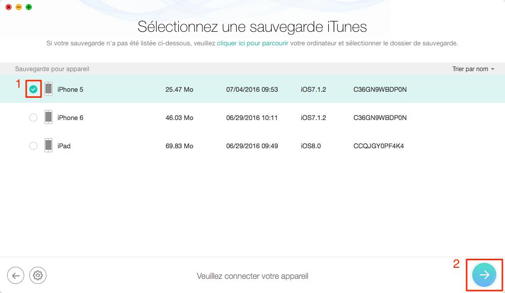 Choisissez une sauvegarde iTunes – étape 3