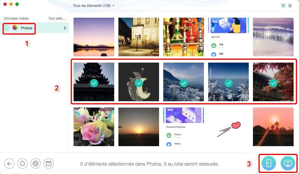 Restaurer les photos perdues depuis iPhone sur PC - étape 3