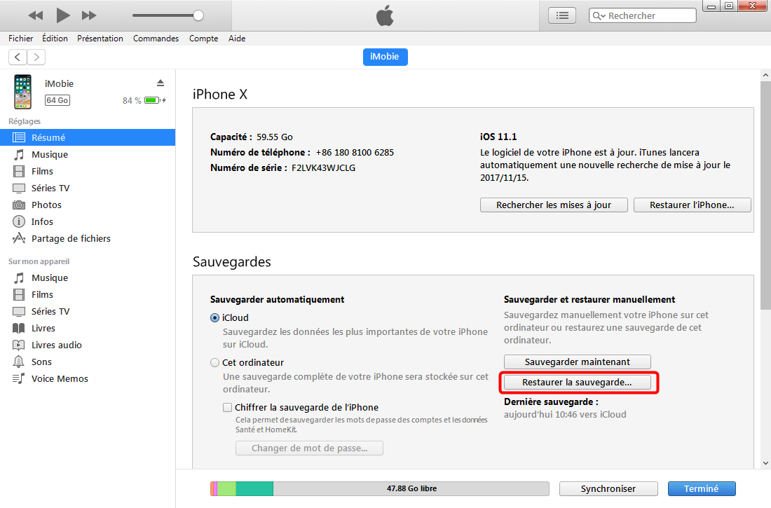 Récupérer les photos supprimées iPhone X avec iTunes