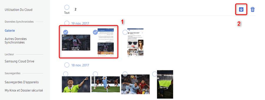 Récupération des photos depuis Samsung Cloud