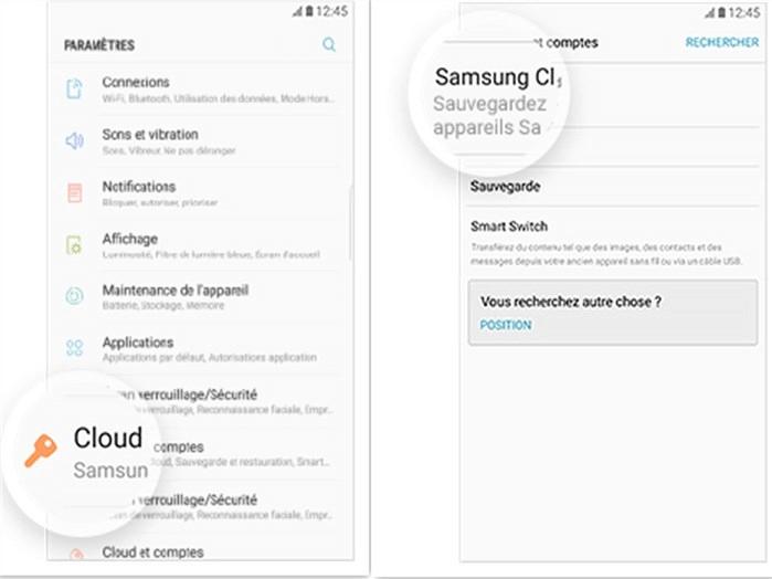 Récupération de photos supprimées Samsung S9 depuis Cloud