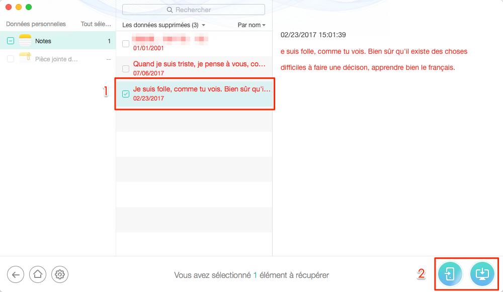 Retrouver les notes iPhone perdues depuis iTunes – étape 4