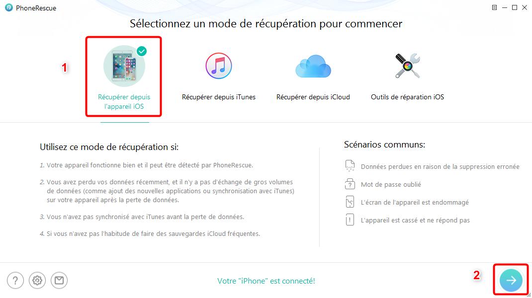 Comment récupérerles signets Safari disparues iPhone sous iOS 11 – étape 1