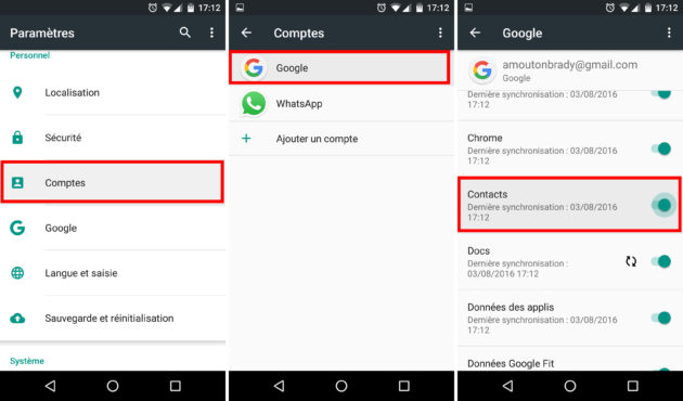 Synchroniser contact sur Gmail