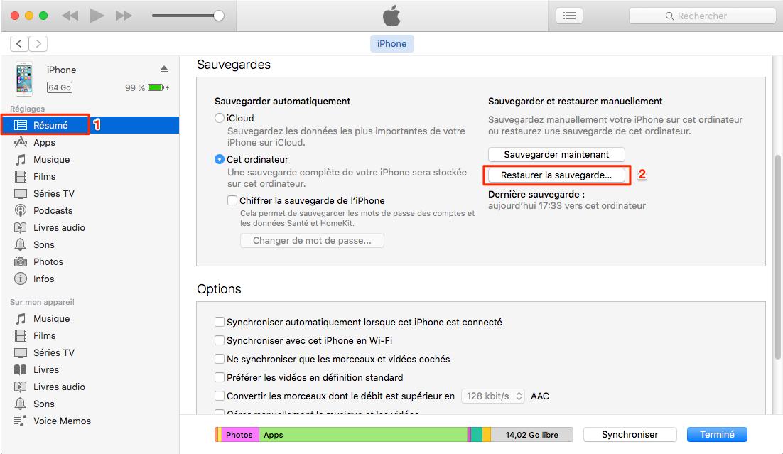 Récupérer les données perdu iPhone depuis iTunes – étape 2