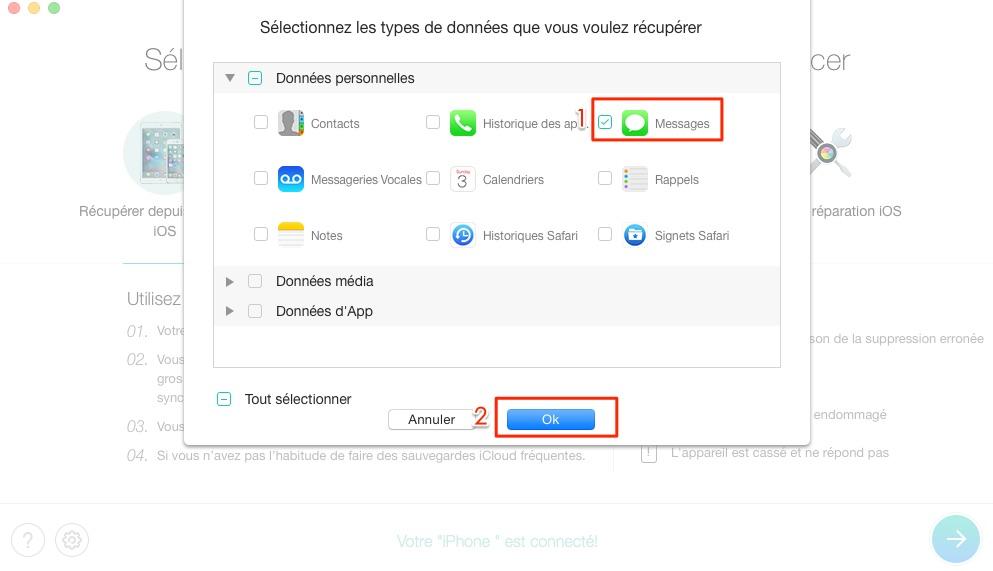 Retrouver les messages effacés depuis téléphone iOS - étape 2