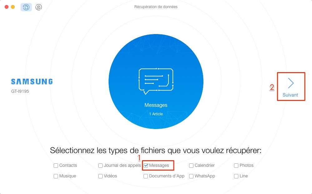 Retrouver les messages depuis téléphone Android - étape 1