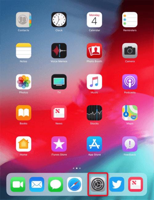 Ouverture des réglages de l'iPad