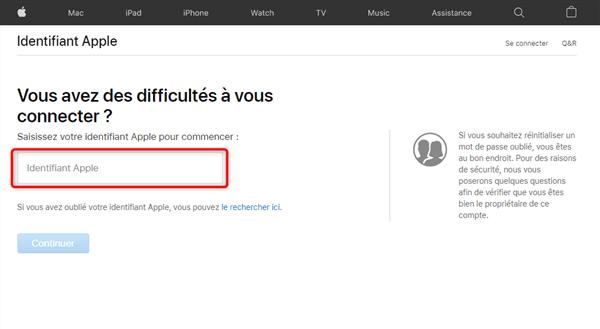 Page d'accueil du site iForgot