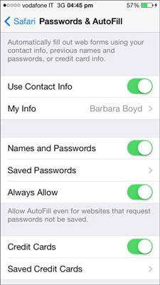 Remplissage automatique de mot de passe Safari sur iPhone
