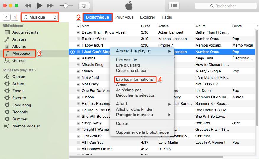 Comment renommer les chansons iTunes