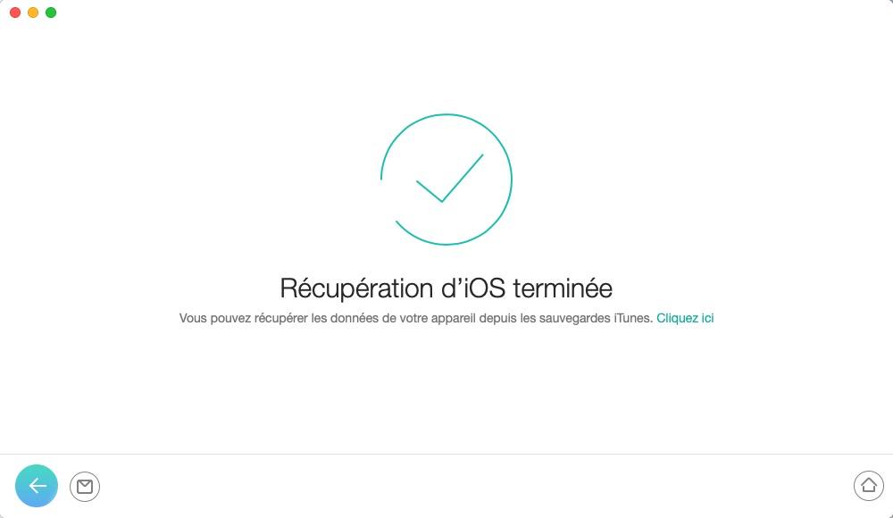 Récupération de l'appareil iOS avec succès