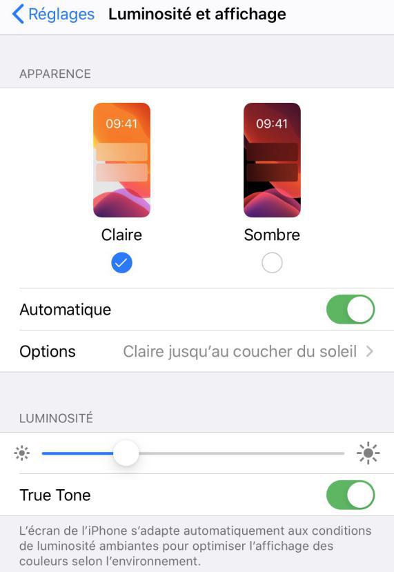 Prolonger la durée de vie de la batterie iOS 13 - Baisser la luminosité de l'écran