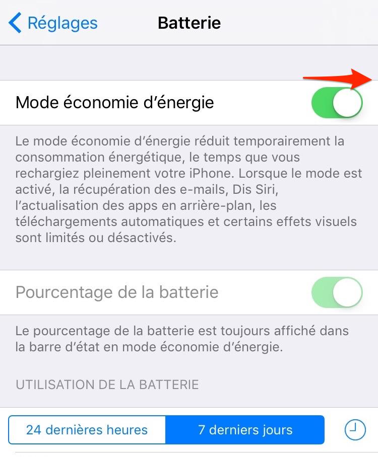 Prolonger la vie de batterie iOS 12/11 – Activer le mode économie d'énergie