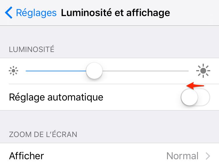 Prolonger la durée de vie de la batterie iOS 12/11 - Baisser la luminosité de l'écran