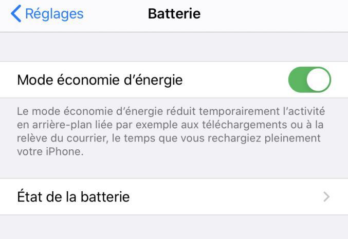 Économiser batterie iPhone - Activer le mode économie d'énergie