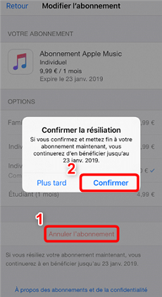 Comment résilier Apple Music