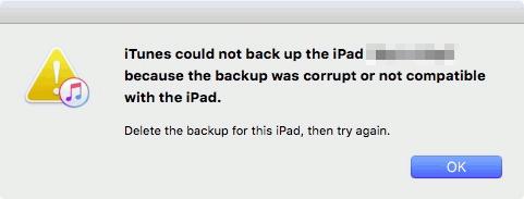 iTunes n'a pas pu sauvegarder iPhone - sauvegarde corrompu ou non compatible